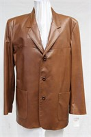 Men's Cognac Leather Blazer size Medium