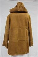 Tan Sheep Skin jacket with hood size 10