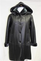 Black Shearling with hood size Sm Retail $2300.00