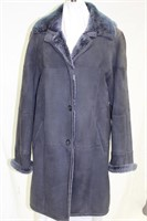 Blue Shearling Size Medium coat with hood