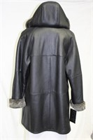 Black Shearling coat with hood size 14