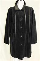 Black  suede 3/4 length coat , leather trim Sz M