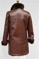 Maple sheared beaver/leather reversible coat