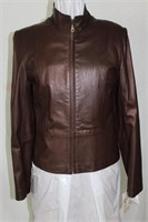 Brown Pearlized Lamb leather coat size M