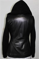 Leather & Knit sweater with cape/hood size s