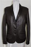 Brown quilted leather blazer size M/L