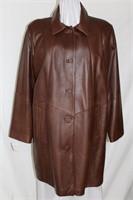 Chestnut leather car coat  Size L Retail $800.00