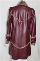 Burgundy print leather coat S/M Retail $980.00