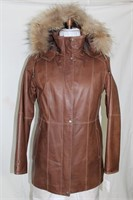 Brown leather zip jacket with removable hood