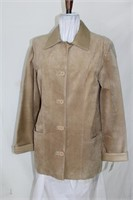 Sand suede jacket with leather collar and cuffs,