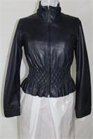 Navy leather jacket  size XS Retail $400.00