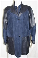 Navy leather and suede coat  S/M Retail $575.00