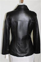 Lambskin leather zip front jacket Size small