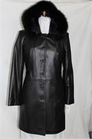 Black leather 3/4 coat with fox fur trim