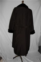 Poplin full length coat with zip out sheared