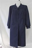 Poplin full length coat with Sheared Beaver button