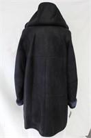 Lambskin Shearling navy coat with detachable hood