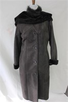 Charcoal Shearling coat with detachable hood and