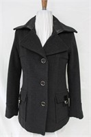 Wool pea jacket with leather trim Size Sm Retail