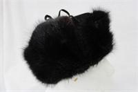 "Dyed Black Muskrat hat size 22.5"" Retail $195.00"