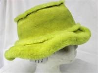 "Lamb Shearling Lime hat sz 22"" Retail $130.00"