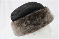 "Shearling Leather hat 22.5"" Retail $195.00"