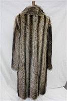 Used Raccoon full length double breasted coat