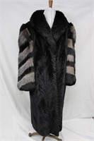 Used Dyed Black Mink Tails coat with Fox sleeves