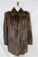Used dyed Muskrat backs car coat size Lg retail