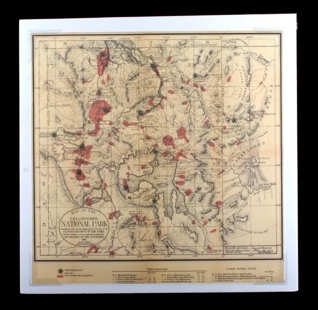 Map Of North America Yellowstone National Park.1881 Map Of Yellowstone National Park North American Auction Company