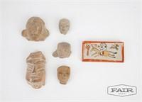 5 Pre Columbian Artifacts and 1 Chinese Mini Brick