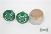 2 Miniature Green Vases and 1 Dish