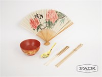Asian fan, bowl, spoon and 2 chopsticks