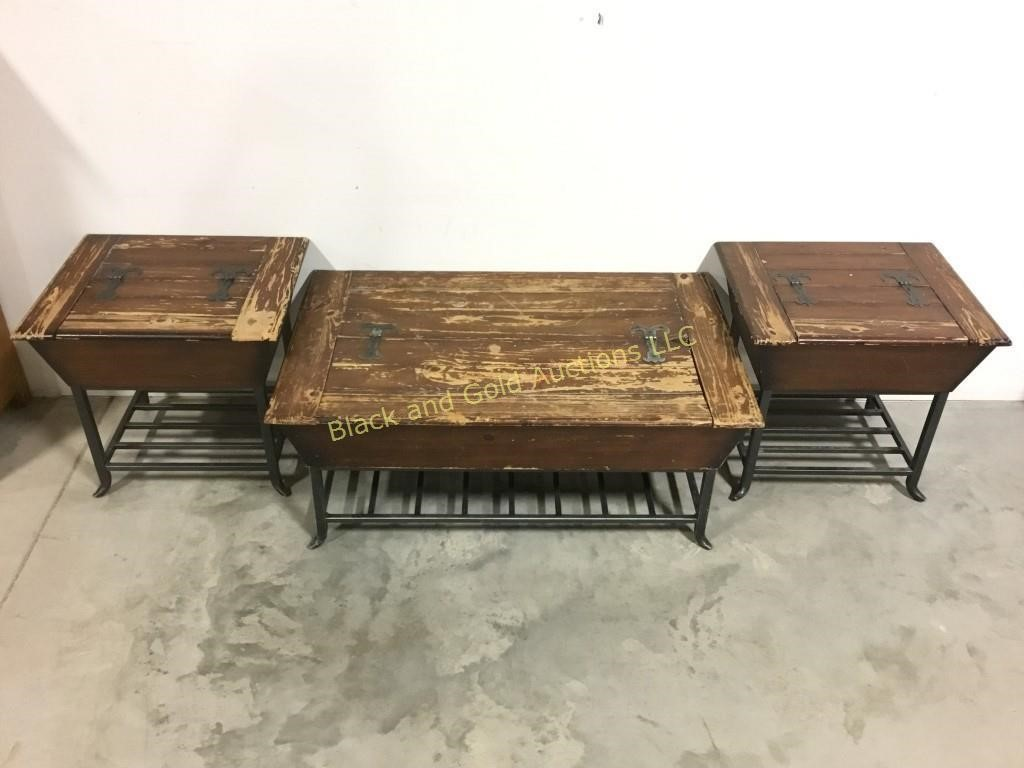 Matching Coffee Table End Tables Black And Gold Auctions Llc