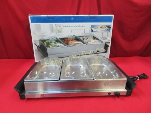 Surprising Bella Triple Buffet Server Warming Tray Hibid Auctions Idaho Beutiful Home Inspiration Papxelindsey Bellcom