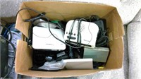 Box Lot Of Computer Parts, Chargers Apc Backup,