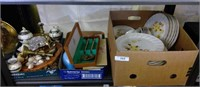 Grouping Dishes, Flatware In Box  Etc