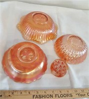 Group 4  Pieces Of Carnival Glass