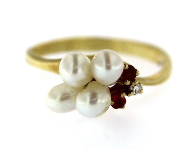 10kt Gold Pearl-Ruby & Diamond Ring | Interstate Auction Company