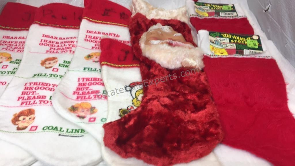 Vintage Christmas Stockings.7 Vintage Christmas Stockings Estatesaleexperts Com