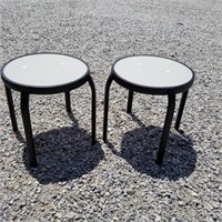 Two Glass Top Outdoor Side Tables