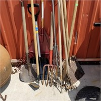 Lot To Include Shovels Rakes And Other Garden