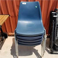 4 Blue-grey In Color Stackable Plastic Chairs