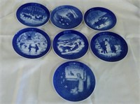 Group Of 7 Hand Painted Royal Copenhagen Plates