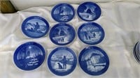 Group Of 8 Hand Painted Royal Copenhagen Plates