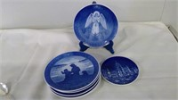 Group Of 8 Royal Copenhagen Hand Painted Plates