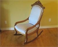 Antique Carved Upholstered Rocker