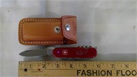 Swiss Army Knife With Leather Case