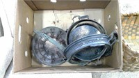 Box Of Silver Plate And Wicker Basket