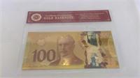 24k Gold Foil Canadian $100 Bill